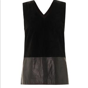 Vince leather suede silk lined top